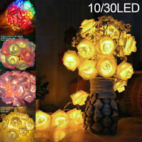 10/30 LED Rose Blumen Lichterkette Girlande Lichterketten Hochzeit Party Deko
