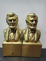 Vintage Abraham Lincoln Brass Bookends-Pair-Philadelphia Mfg. Co.