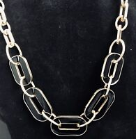 NWOT Black Enamel Pieces In Gold Tone Necklace With Gold Chain And Clasp