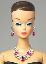 Barbie Doll Vintage FR Silkstone Rose Necklace Earrings Jewelry Set NE2180