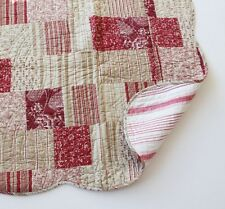 French Country Toile Throw Quilt Rug Blanket Red Ecru Patchwork + Cushion Cvr