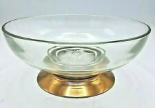 Vintage Clear Thick Glass Bowl Round Shape With Copper Metal Pedestal Base