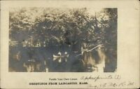 Lancaster MA Canoe c1905 Real Photo Postcard
