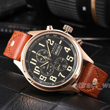 43mm Parnis Chronograph Quartz Rose Gold Case Men Boys Watch Brown Leather Strap
