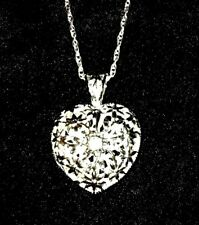 .925 Sterling Silver CZ Filigree Heart Locket Pendant Necklace Rhodium Plated