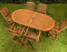 Large Wooden Folding Garden Table Patio Terrace Oval Table With Parasol Holder