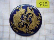 Petit médaillon poisson émaillé bijoux montre pocket watch enamel zodiaque p19