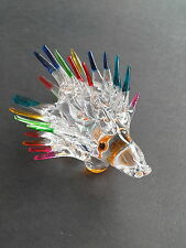 PORCUPINE FIGURINE HEDGEHOG GLASS STATUE ANIMAL MINIATURE ART DECOR HAND BLOWN