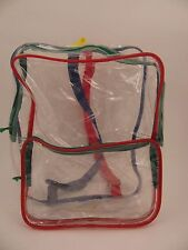 """Clear Transparent Backpack With Colored Straps New 12""""x9"""""""
