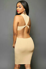 Midi Abito aperto trasparente Nudo aderente Daring Back Dress clubwear skinny L