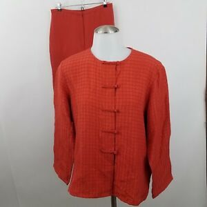Eileen Fisher Suit S 2 Piece Orange 100% Silk Mandarin Oriental Pants Jacket
