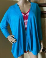 Chicos Womens Linen Blend Open Front turquoise Knit Cardigan Sweater sz 2 M L