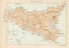 Carta geografica originale Italia Roggero 1892 Isola di Sicilia