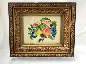 Vintage Theorem Painting on Fabric of Fruit Cluster in Faux Granite Frame