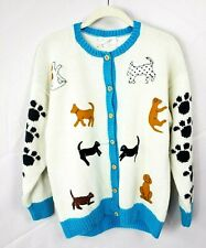 Cotton Salsa Womens Cream Blue Large/XL Chunky Knit Dog Puppy Cardigan Sweater