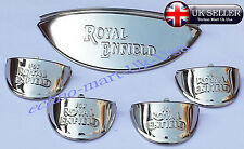 "7"" chrom headlight indicator embossed Shade visor peak Royal Enfield bikes @ UK"