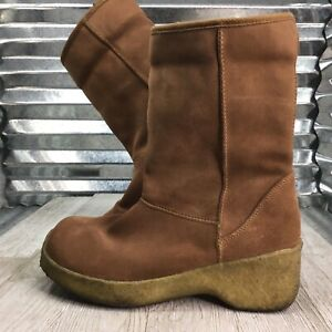 Yellow Box Boot Brown Mouse Leather Ankle Faux Fur Lining Creep Platform Sz 10