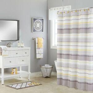 "Saturday Knight Ltd Spring Garden Stripe Bath Shower Curtain - 70X72"" Gray"