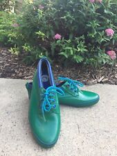 Size 9 Womens Vtg Green Blue Sporto Rubber Shoes