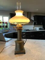 Vintage Unique Tall Brass Table Lamp With White Glass Shade and Chimney