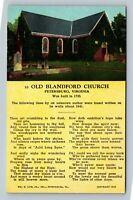 Petersburg VA, Old Blandford Church, Poem, Linen Virginia Postcard