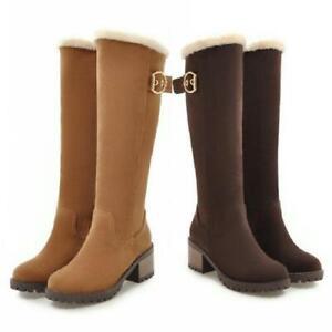 4 Colors Women Fleece Lined Buckle Low Heel Office Work Knee High Riding Boots D