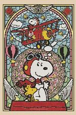 SNOOPY Stained Glass 359 cross stitch chart Flowerpower 37-uk GRATUIT UK p&p