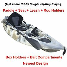 2.7M Fishing Kayak Single Sit-on Canoe 5 Rod Holders Seat Paddle Beige Camo