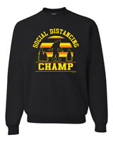 Social Distancing Champ Funny Bigfoot Mens Crewneck Graphic Sweatshirt