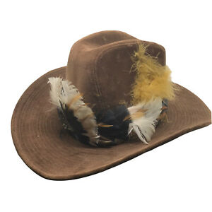 Stetson Cowboy Hat 7 1/2 - 7 3/8 Brown Lined Custom Feathers 100% Cotton