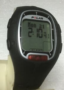 Polar RS100 All Black w/Silver Trimmed Display WATCH & HEART RATE BAND Sml/Md