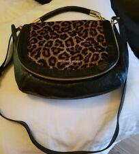 Michael Kors Stanthorpe Medium Leopard Haircalf Shoulder Bag Crossbody Black