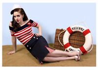 NEW ROCKABILLY 1950s WIGGLE SKIRT, Nautical Vintage Retro Burlesque Pencil Skirt