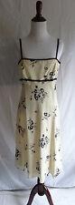 Maggy London Size 6 100% Ivory Silk Black Flower Print Baby Doll Ribbon Dress