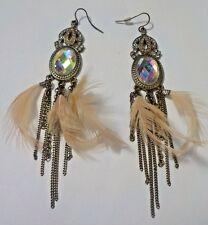 Vintage Rhinestones, Feathers & Gold Tone Dangling Pierced Earrings