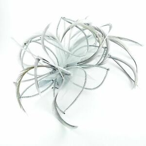 Silver Grey Chiffon & Feather Plume Fascinator on Comb Party Ladies Girls UK