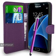 Purple Wallet Case PU Leather Book Cover For Samsung Galaxy S7 G930 Mobile