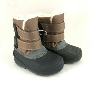 Cat & Jack Toddler Boys Lev Winter Boots Faux Fur Trim Water Resistant Brown 6