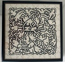 Keith Haring vintage printed jigsaw puzzle from Pop Shop NYC RARE Framed