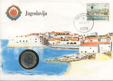 superbe enveloppe YOUGOSLAVIE YOUGOSLAVIA pièce monnaie 10 D 1986 UNC NEW timbre