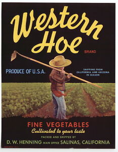 1940's Western Hoe Crate Label Salinas CA  / Refrigerator Magnet