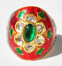 MASTER PIECE 23KT GOLD EMERALD DIAMOND MOGHUL ENAMEL RING