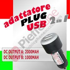 Caricabatteria ADATTATORE da AUTO 12V 24V DOPPIA USCITA USB 1A e 2,1A ipad 2 3