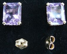 Amethyst emerald cut earrings in 14 K yellow gold