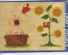 meyercord water decal vtg crying baby nursery folk art flower bird nursery