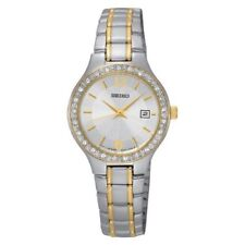 Seiko Quartz Crystal Accent Two Tone Stainless Steel Ladies Watch SUR752