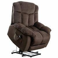 Power Lift Recliner Chair Overstuffed Bedroom Elderly Lounge Sofa Chocolate W/RC