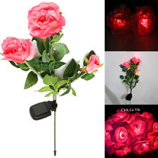 Solar Powered 3-LED Rose Flower Stake Path Garden Night Light Outdoor Yard Lamp
