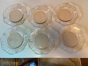 """VINTAGE PINK DEPRESSION GLASS 6-3/8"""" PLATES set of 6"""