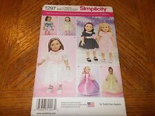 "Simplicity Pattern 1297 ~18"" Doll Clothes~ Dresses- Party & Formal -"